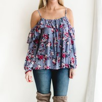 Jacey Floral Cold Shoulder Top