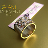 Gold tone chunky ring with Swarovski crystals by KarmanJewelry