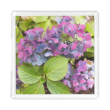 Colorful Hydrangeas Floral Serving Tray