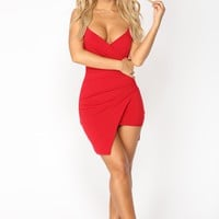 Roslyn Asymmetrical Dress - Red