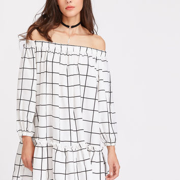 White Elasticized Neckline Lantern Sleeve Drop Waist Grid Dress