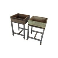 Pre-owned Vintage Wooden Canning Crate Carts - A Pair