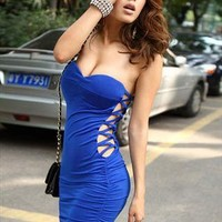Hot Cut Out Strapless Ruched Dress from OASAP-USA