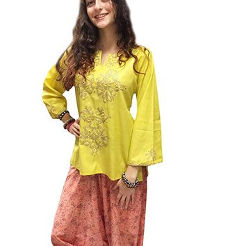 Mogul Womans Tunic Top Yellow Printed Stylish Bohemian Hippie Blouse Shirt