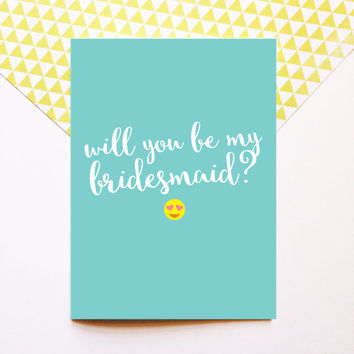 Emoji Bridesmaid Proposal Card - Will You Be My Bridesmaid - Wedding 5x7
