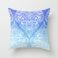 Out of the Blue - White Lace Doodle in Ombre Aqua and Cobalt Throw Pillow by Micklyn