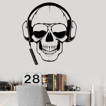 Wall Decal Skull Headphones Gamer Sunglasses Boys Room Vinyl Stickers Unique Gift (ig2804)