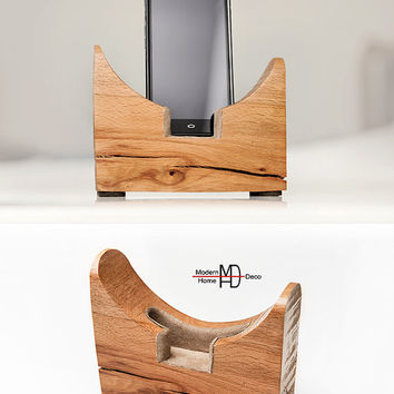 Smartphone Stand, a great gift. Tech lover gift. Wood iPhone Stand. Geometric Phone stand.