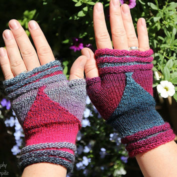 "Fingerless Mittens ""Follow me"" - fingerless gloves, wrist warmers, handknitted - great gift for her, holiday gift"