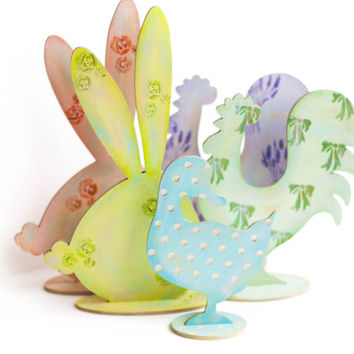 "Rustic Spring set. Easter set. Laser cut wood - ""Rooster. Bunny. Duck."" Cottage chic. Home decor"