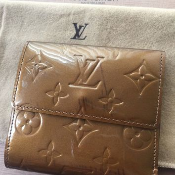 AUTHENTIC Louis Vuitton Brown Vernis Leather Billfold Wallet w/ Coin Pocket