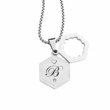 Double Hexagram Initial Necklace With Cubic Zirconia By Pink Box - B