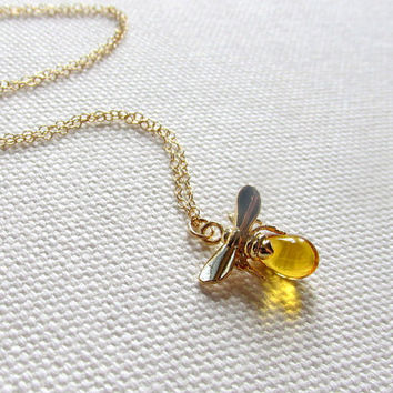 Gold Bee Necklace, Tiny Honey Bee Charm 14k Gold Fill Chain, Bee and Honey Dainty Petite Simple Jewelry, Quirky Cute Animal Jewelry