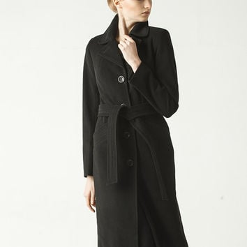 Classic Black Coat for Woman ,elegant Long Jacket with Belt, Wool Coat Winter