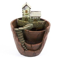 Tiny Creative Plants Pot Flower Plants Succulent DIY Container Decorated with Mini Hanging Fairy Garden and Sweet House for Holiday Decoration and Gift