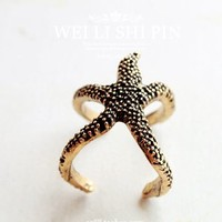 Retro cute starfish rings