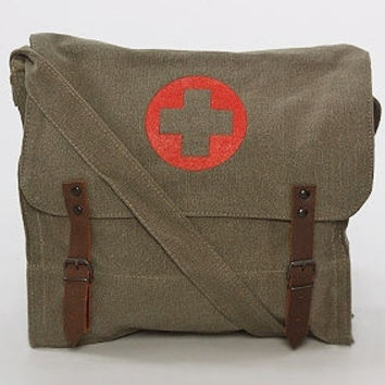 Vintage Nato-Style Canvas Medic Bag in Olive Drab - Free Shipping