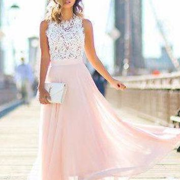 Floral Lace Chiffon Maxi Dress
