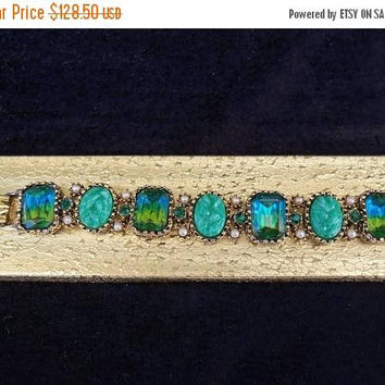 Now On Sale Aqua 1950's Rhinestone Bracelet Very Classy Old Hollywood Blue Green Huge Stones Faux Pearls Glass Cabochons Watermelon