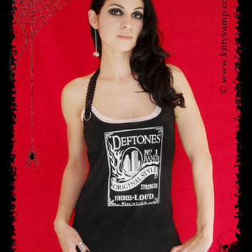 Deftones Metal Rock Chino Whiskey Shirt Halter top Lace S M L XL