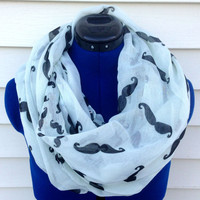 Infinity scarf - Milk Mustache scarf - mustache print scarf - loop scarf - women - teen - chunky scarf