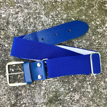 "BASEBALL PANTS BELT Blue Elastic, Size Large 1.5"" x 40"""