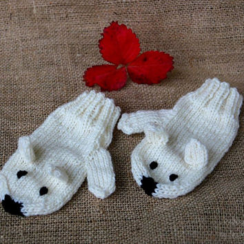 Kids mittens polar bear, handknit gloves for children 4-6 years, one-of-a-kind, stocking stuffers, winter fashion for kids