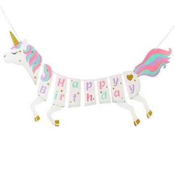 Cute Unicorn Garland Happy Birthday Party Glitter Unicorn Banner Bunting Hanging Diy Crafts Supplies Kid Bedroom Decor Sticker