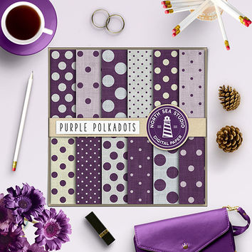 Linen Polkadots Digital Paper Purple Polkadot Digital Scrapbook Polka Dot Pattern Linen Texture Burlap Backgrounds 12x12 In Digital Download