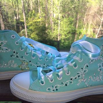 Hand Painted Rhinestone Sea Star Blinged Out Starfish Custom Converse
