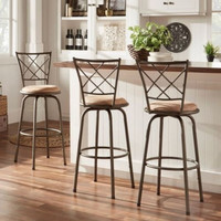 Transitional 3-Piece Swivel Counter Barstool Home Furniture Adjustable Brown New