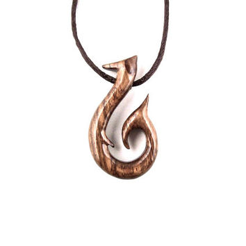 Fish Hook Necklace, Fish Hook Pendant, Wood Fish Hook Necklace, Fish Necklace Men, Tribal Jewelry, Mens Necklace, Fish Jewelry, Wood Pendant