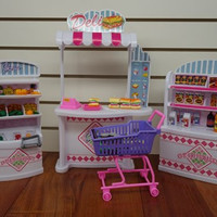 Barbie Size Dollhouse Furniture-supermarket Shopping Cart Veggie