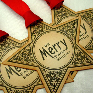 Christmas Gift Tags, Set of 6, Vintage Style, Hang Tags, Decorations, Favor, Place Setting, Star, Red, Luxury Tags, Choose Ribbon Colours