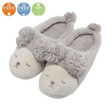 ICIK3SY MiYang Warm Indoor Slippers For Women Fleece Plush Bedroom House Shoes Non Slip Winter Boots