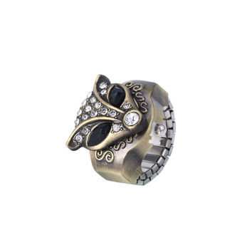 Punk Alloy Rhinestone Fox Acrylic Eye Ring Watch