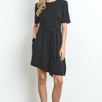 Wrap Tie Dress - Black