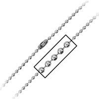 INOX Jewelry 316L Stainless Steel 3mm Bead Chain Necklace
