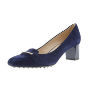 Tod's Womens Suede Embellished Loafer Heels