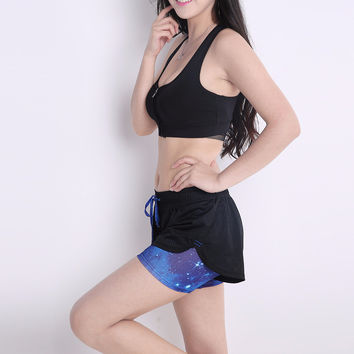 Women Sport Running Shorts Hollow Out 2 in 1 Short Pants for Yoga Workout Fitness Beach Shorts Compression Shorts
