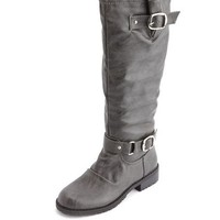 Distressed Double Buckle Flat Boot: Charlotte Russe