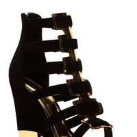Glaze Black Gold Accent  Single Sole Wedges