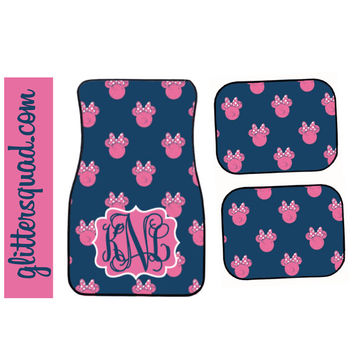 Navy and Pink Minnie Mouse Inspired Car Mat / Car mat Monogram