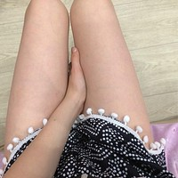 New Elastic High Waist Women Shorts feminino Hot Sale Pom Pom Ball Floral Casual Mini Dot Summer Shorts Women Sexy Red, Black