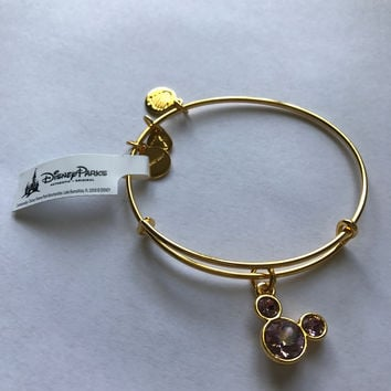 Disney Mickey Mouse Birthstone Bangle by Alex and Ani June Gold Finish New