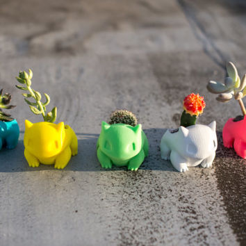 Bulbasaur Planter, Pokemon go,  Pocket Animal, Bulbasaur Planter, 3D printed, Pikachu, Best Gift, Adorable, cute, monster, geekery,