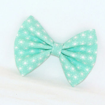 Mint Green Hair Bow with Tiny White Flowers with Hair Clip Rockabilly Pin up Teen Woman