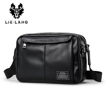Genuine Leather Shoulder Bags for Men Black Messenger Bags Travel iPad   Male Cross body Bags