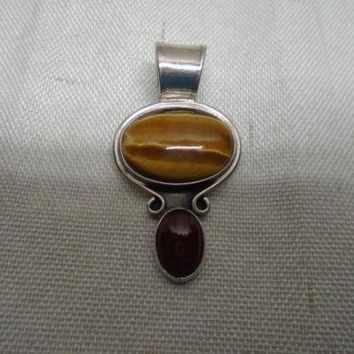 Mexican Sterling Silver Tiger's Eye and Carnelian Stone Pendant Signed CII