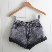 Vtg 90s Black Acid Wash High Waisted Cut Off Denim Shorts Mom Jean Cuffed 22""